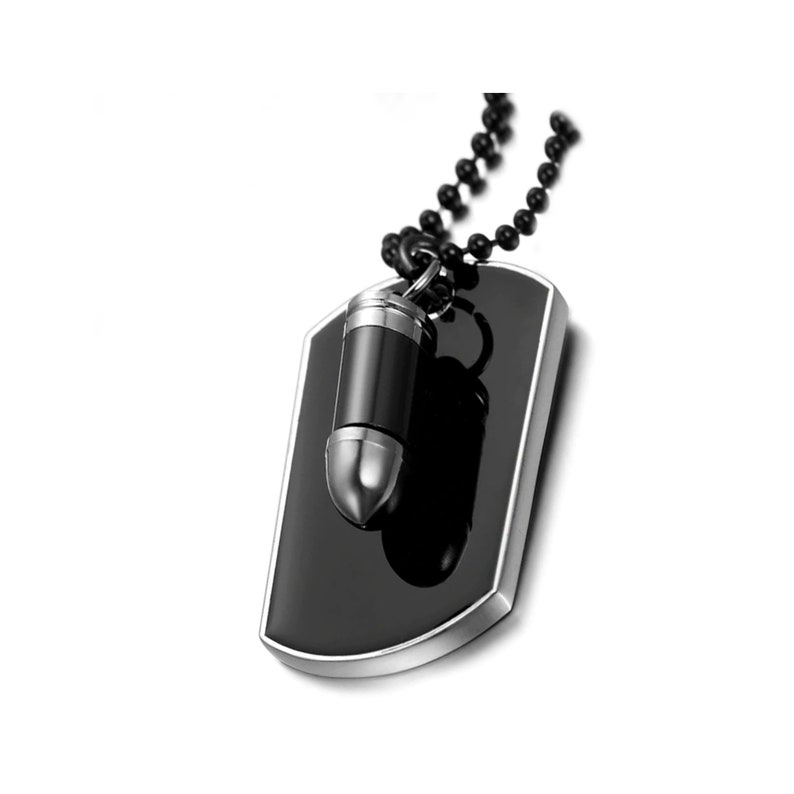Memorial Ashes Urn Keepsake Pendant Cremation Bullet and Dog Tag Necklace