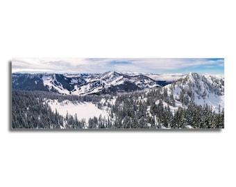 Skyline Lake Winter Snow Aerial Panorama