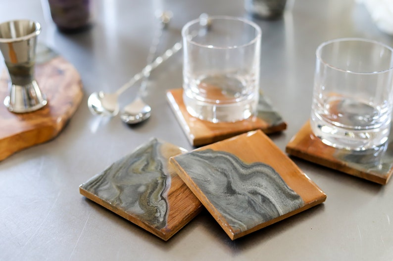 Bar Wood Coasters Resin Handcrafted