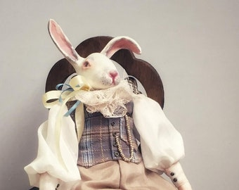 Art doll White Rabbit (March Hare) author's doll handmade doll interior doll collectible doll in vintage style Easter gift