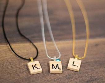 Scrabble Tile Inspired Necklace Hand Stamped and Personalized Sterling Silver Initial Tile Necklace Words with Friends Inspired Necklace