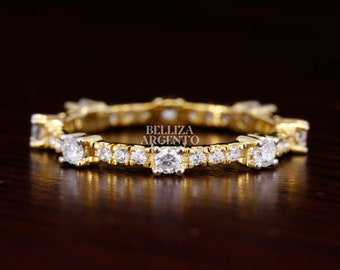 2.5mmMoissanite Wedding Band Round Cut Simulated Diamonds Anniversary Gift Sterling Silver Band Engagement Band Yellow Gold Plated