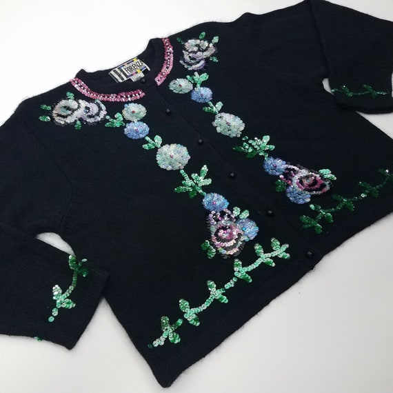 90's GLAM Vintage Sequin Floral Cardigan Sweater … - image 1