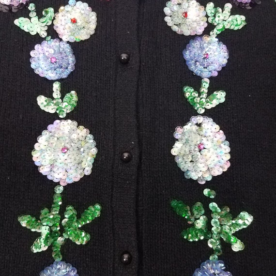 90's GLAM Vintage Sequin Floral Cardigan Sweater … - image 5