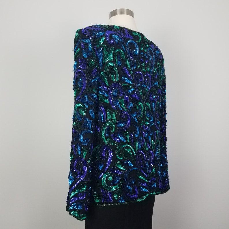 90/'s GLAM Vintage Blue /& Green Geometric Sequin Jacket by Lawrence Kazar Large Size 10 Size 12 Beaded Silk Formal Evening Jacket