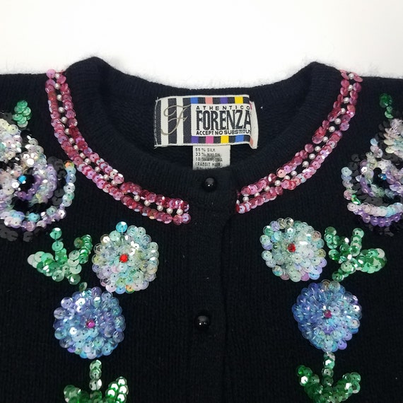 90's GLAM Vintage Sequin Floral Cardigan Sweater … - image 4