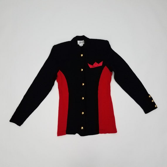 80's GLAM Vintage Black and Red Cardigan Sweater b