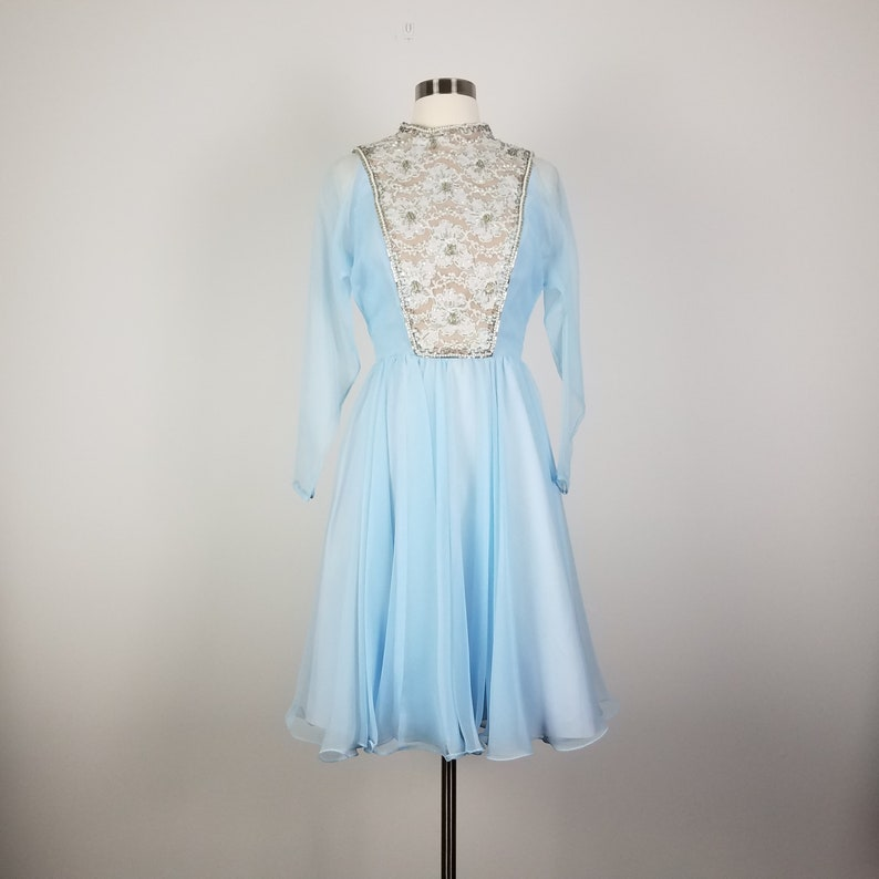 60/'s GLAM Powder Blue Fit /& Flare Skater Dress by Jack Bryan Small Size 2 Size 4 Long Sleeve Dress with Beaded Lace Bodice