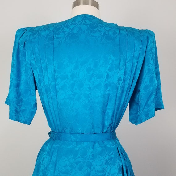 80/'s Vintage Silk Belted Skirt Suit by Argenti Large Size 8 Size 10 Electric Blue Structured Blouse /& Skirt Set Jacquard Peplum Outfit