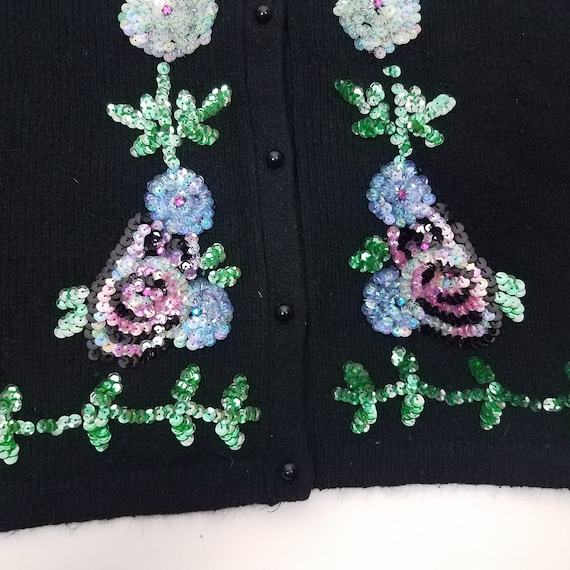 90's GLAM Vintage Sequin Floral Cardigan Sweater … - image 3