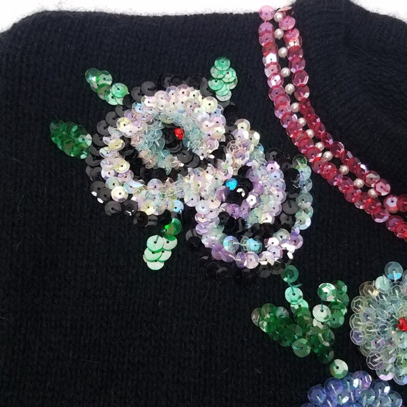 90's GLAM Vintage Sequin Floral Cardigan Sweater … - image 6