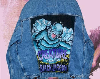 The creature from the black lagoon hand-painted vintage denim jacket