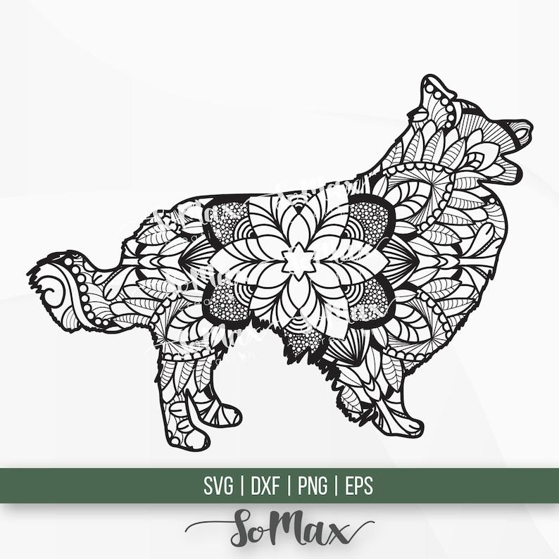 Border Collie Mandala Svg Dog Mandala Sign Png  Border Collie Stencil Clip Art