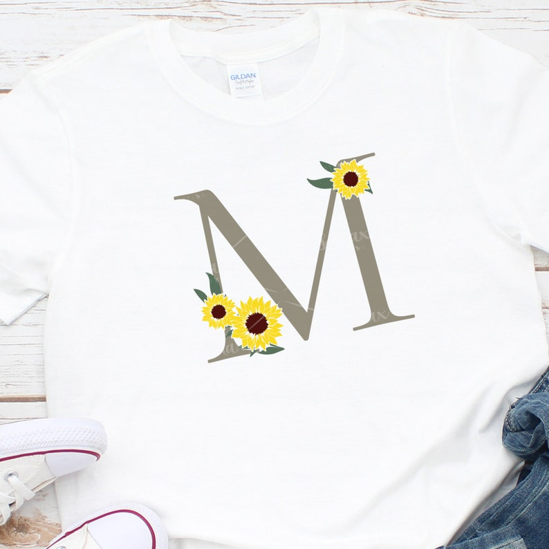 Sunflower Alphabet Svg Floral Letter M Svg Botanical   Etsy
