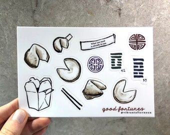 Fortune Cookie Sticker Sheets • Hand-Drawn Illustrations • Great Foodie Gift