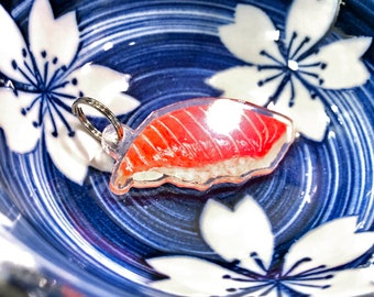 Salmon Acrylic Keychain • Watercolour Painted Art • Great Gift for Sushi Lovers