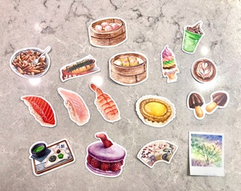 Watercolour Food & Drink Die-Cut Stickers •Sushi, Dim Sum, Ice Cream, Drinks and More • Birthday, Holiday, Foodie Gifts