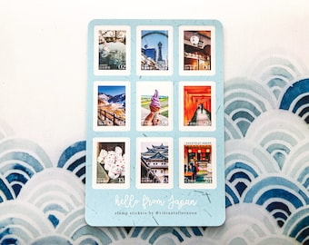Hello from Japan Stamp Sticker Sheet • Featuring 9 Locations Across Japan