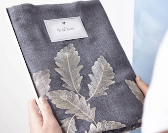 New Denim Blue Scarf with Rose Gold Foil Fern Leaf Design