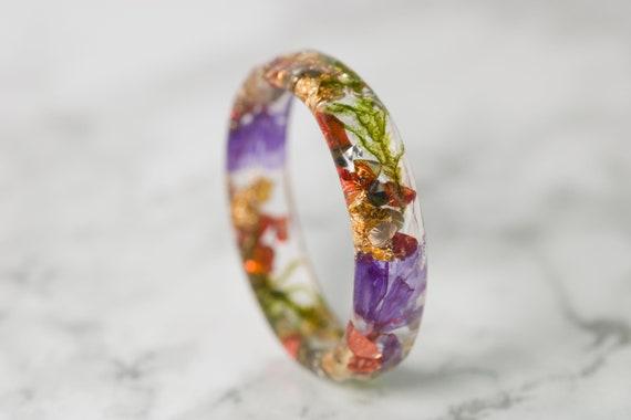 Resin Ring with Real Flower Pressed Flower Ring Terrarium Etsy