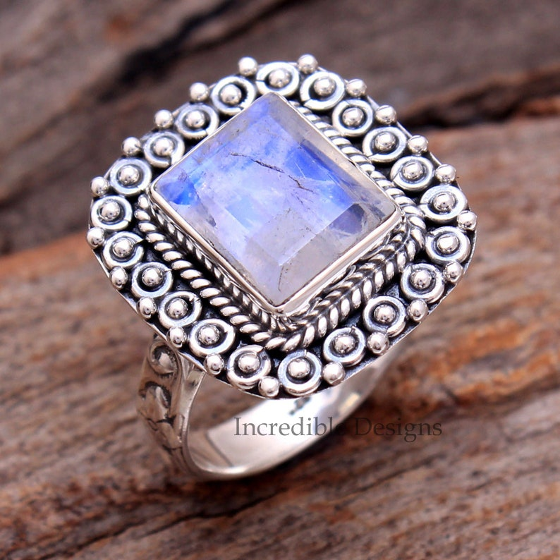 Rainbow Moonstone Jewelry Solid 925 Sterling Silver Ring -Designer Jewelry -Rings For Her -Daily Wear Ring Moonstone Ring Vintage Ring