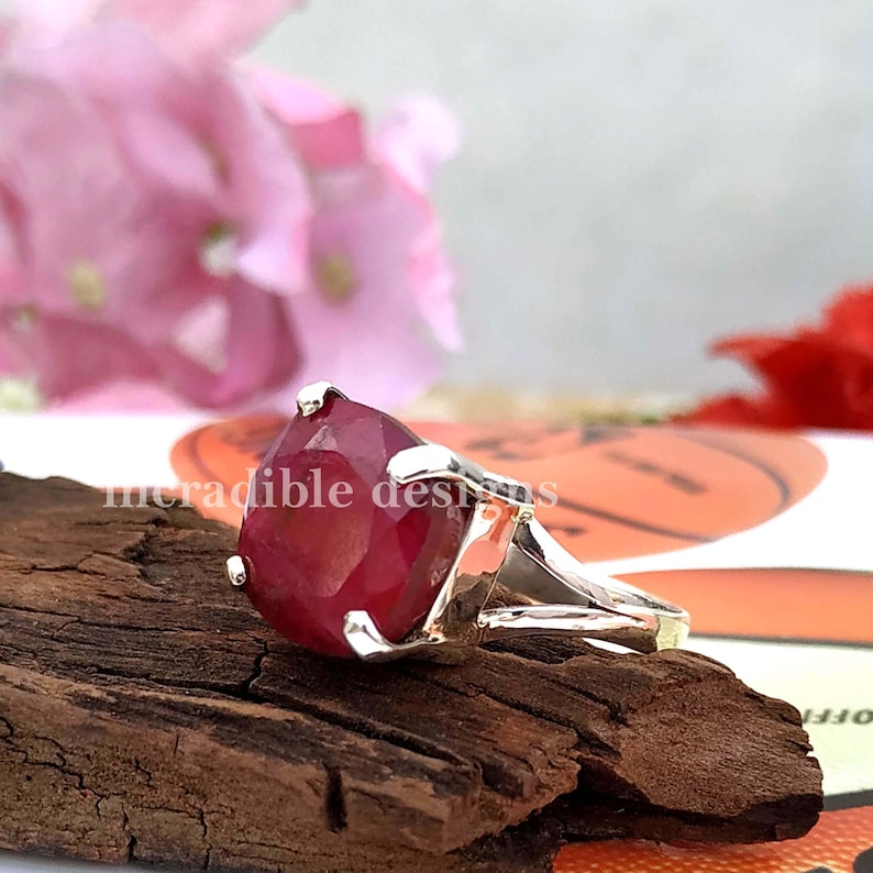 Tiny Ring Ruby Stacking Ring Prong Set Ring Dyed Ruby Ring Veterans Day Gift Split Band Ring Solid 925 Sterling Silver Ring