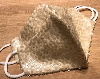 4 mm bag of vintage iridescent winter white sequins off white 13