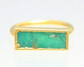 Boho Ring Gemstone Ring Gold Ring Raw Crystal Ring Raw Stone Raw Australian Jade Ring Raw Chrysoprase Ring