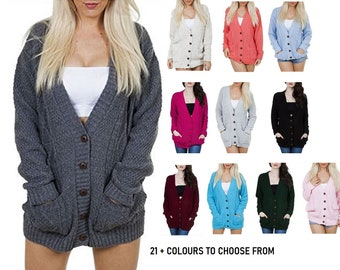 Women's Ladies Long Sleeve Pocket Cable Knit Chunky Cardigan