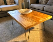 "Chunky, Solid, Beam Wood, Industrial Steel Legs, Coffee Table  ""Pitsford""."