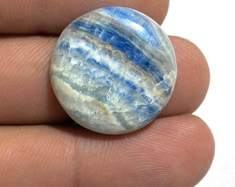 Scheelite Round Shape Cabochon Gemstone Natural Healing Stone Making For Jewelry  23x23x5mm Approx   24.5Ct Beautiful Blue Rhodochrosite