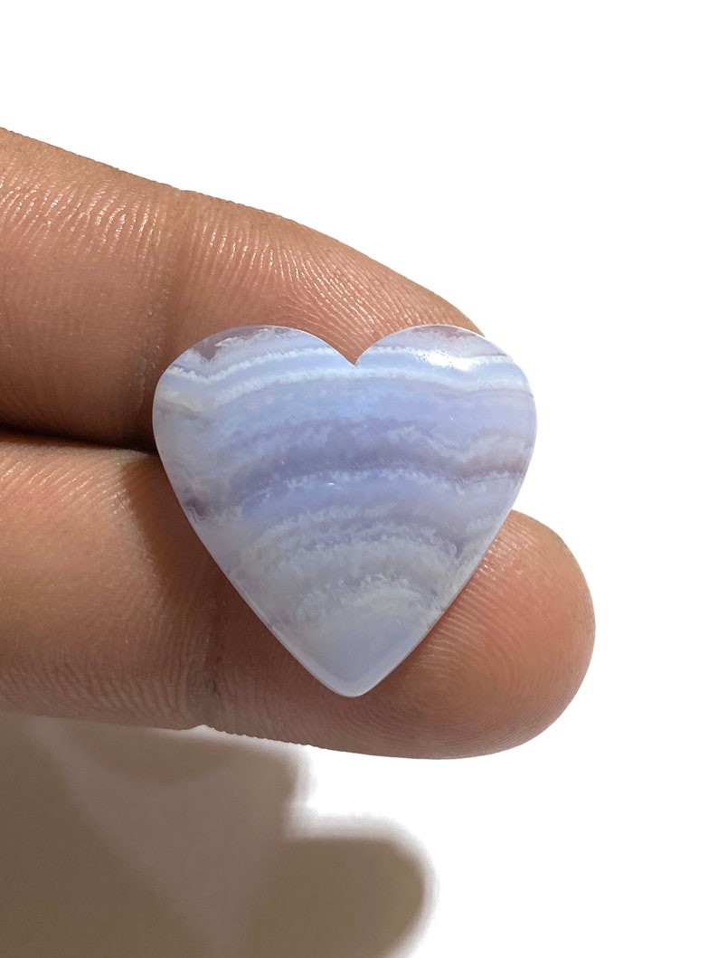 24Ct Beautiful Blue Lace Agate Cabochon Gemstone Heart Shape Cabochon Best For Jewelry!! 24x26x6mm Approx