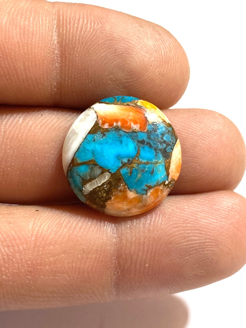 Beautiful Spiny Oyster Copper Turquoise Cabochon Round Shape Cabochon...20x20x4mm Approx 15Ct