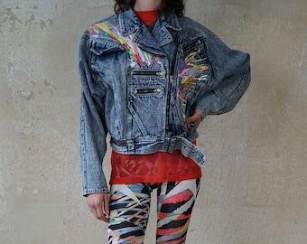 80s 80s Vintage Women's Denim Jacket Biker Jacket Kin Lee Fashion Pop Art Streetwear Hipster Graffiti stonewashed Size 34 36 38 40 XS S M L