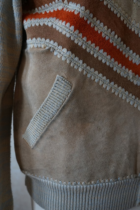 Vintage 70s 80s, jacket with knit leather element… - image 4