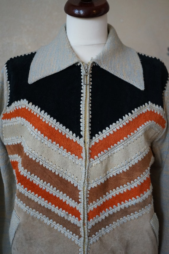 Vintage 70s 80s, jacket with knit leather element… - image 10