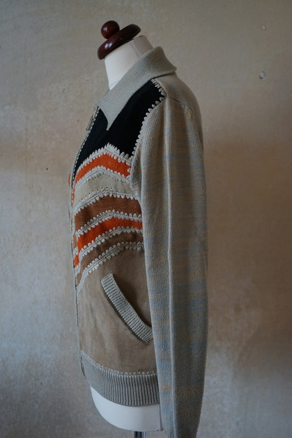 Vintage 70s 80s, jacket with knit leather element… - image 6