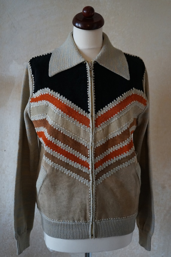 Vintage 70s 80s, jacket with knit leather element… - image 1