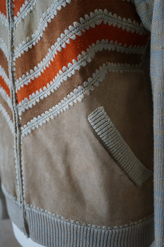 Vintage 70s 80s, jacket with knit leather element… - image 3