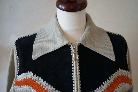 Vintage 70s 80s, jacket with knit leather element… - image 2