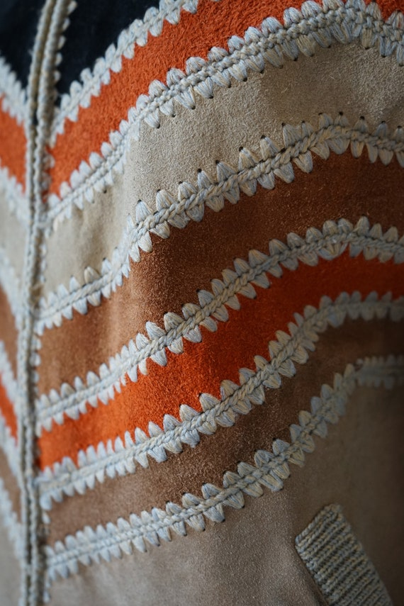 Vintage 70s 80s, jacket with knit leather element… - image 8