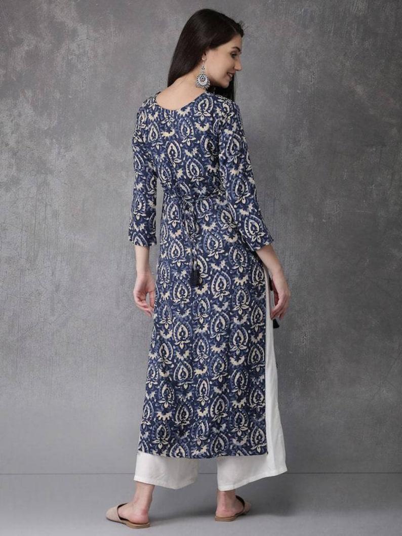 Indian Dress Boho Hippie Kalamkari Kurta Women Kalamkari Kurti Dress Women Blue Printed Straight Kurta For Women Kurtis For Women