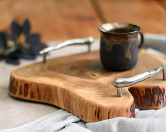 Small wooden serving tray, wood coffee table tray silver handles