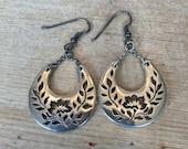 Sterling Silver Floral Lace Cut Out Dangle Earrings, Hoops Boho Earrings