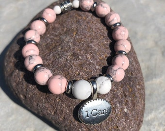 "The I CAN ~ White Howlite, Red Vein Jasper or Pink Magnesite Beaded ""I CAN"" Charm Bracelet"