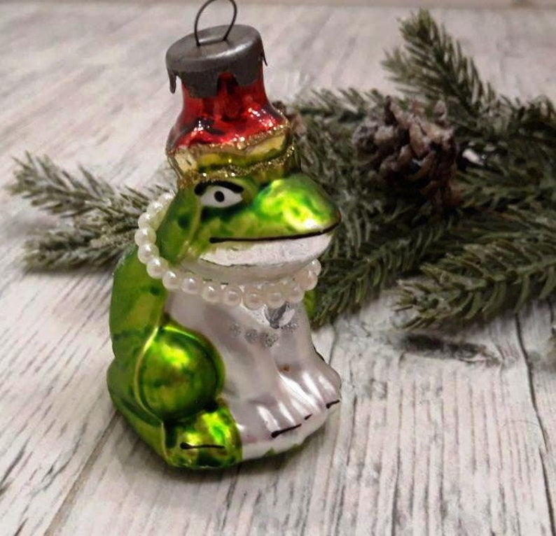 vintage Christmas glass ornaments Frog Antique Christmas glass ornament,1950s christmas Soviet Christmas ornaments Christmas tree