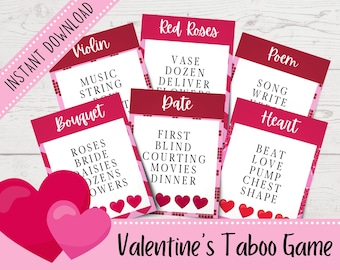 Valentine's Day Taboo Game | Printable Taboo Cards | Valentine's Day Party Games | Printable Valentine's Day Games