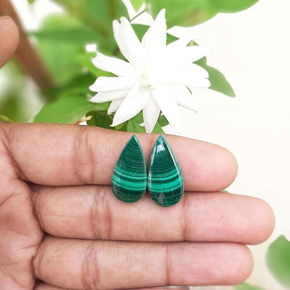 23.5 Ct Splendid Top Grade Quality 100/% Natural Malachite Pear Shape Cabochon Loose Gemstone Pair For Making Earrings 24X11X3 mm M-1843