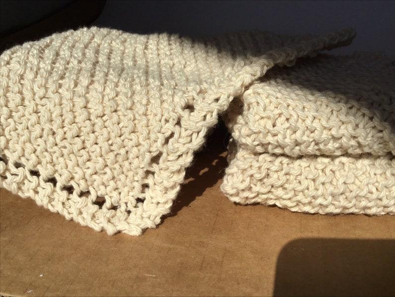 washcloths set of 5 Ecru dish rags Cotton knitted  dishcloths