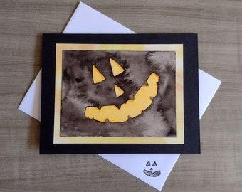 Handmade Watercolor Jack O' Lantern Face Card